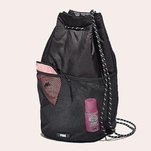 Victoria's Secret PINK Black Drawstring Backpack